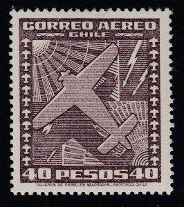 Chile 1951-53 40p Dark Purple Brown MNH. Scott C152