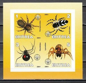 Eritrea, 2001 Cinderella issue. Spiders on an IMPERF sheet of 4. *