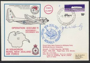 NEW ZEALAND ROSS DEPENDENCY 1975 signed flight cover  ex Scott Base......H705
