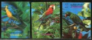 YEMEN 3-D BIRDS SET OF SIX MINT NEVER HINGED