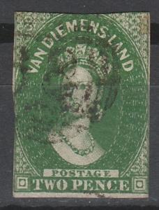 TASMANIA 1855 QV CHALON 2D WMK STAR IMPERF USED