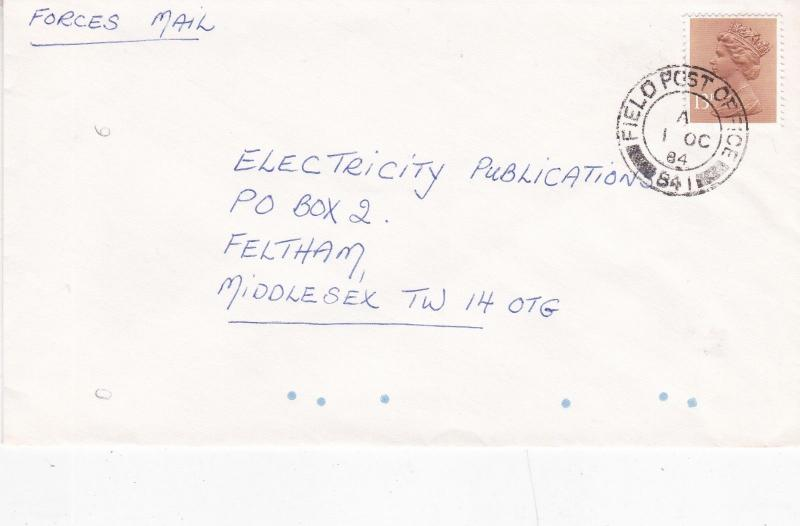 GB 1984 Field Post Office 841 Cover to Feltham VGC