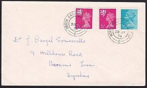 GB 1974 cover NORTH EASTERN TPO NT UP / 2 railway cds.......................9551