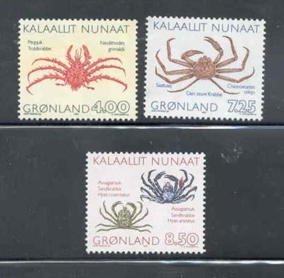 Greenland Sc 256-8 1993 crabs stamps mint NH