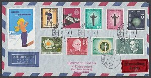 GERMANY 1960 registered express cover - great franking + cinderella.........B322