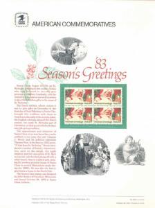 UNITED STATES COMMEMORATIVE PANEL 1983 20c  SEASON'S GREETINGS SANTA CLAUS