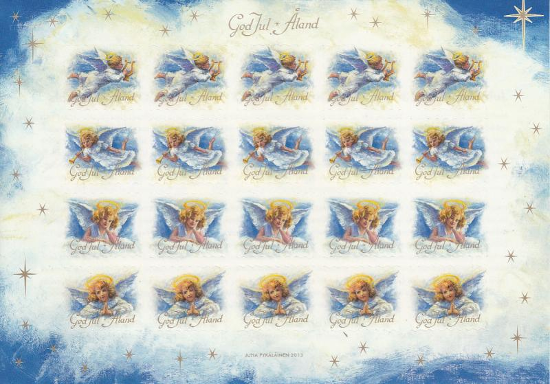 Aland 2013 MNH Sheet of 20 Christmas Seals Angels 4 different