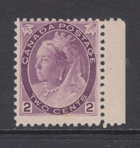 Canada Sc 76 MNH. 1898 2c purple QV Numeral, sheet margin single