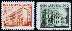 Latvia Scott 207-208 (1939) Used H VF B