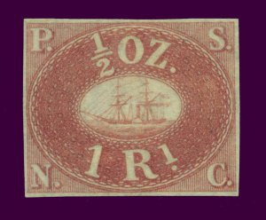 PERU 1857  PACIFIC STEAM NAVIGATION Co  1R rose  Sc# 1 REPRINT Only 800 printed
