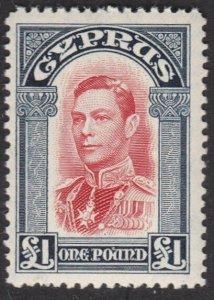CYPRUS 1938 GVI £1 fresh MNH...............................................57517
