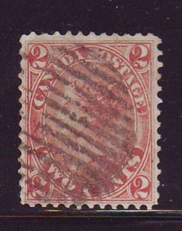 Canada Sc 20 1864 2 c rose Victoria stamp used