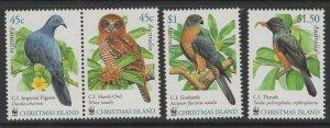CHRISTMAS ISLAND SG507/10 2002 BIRDS MNH