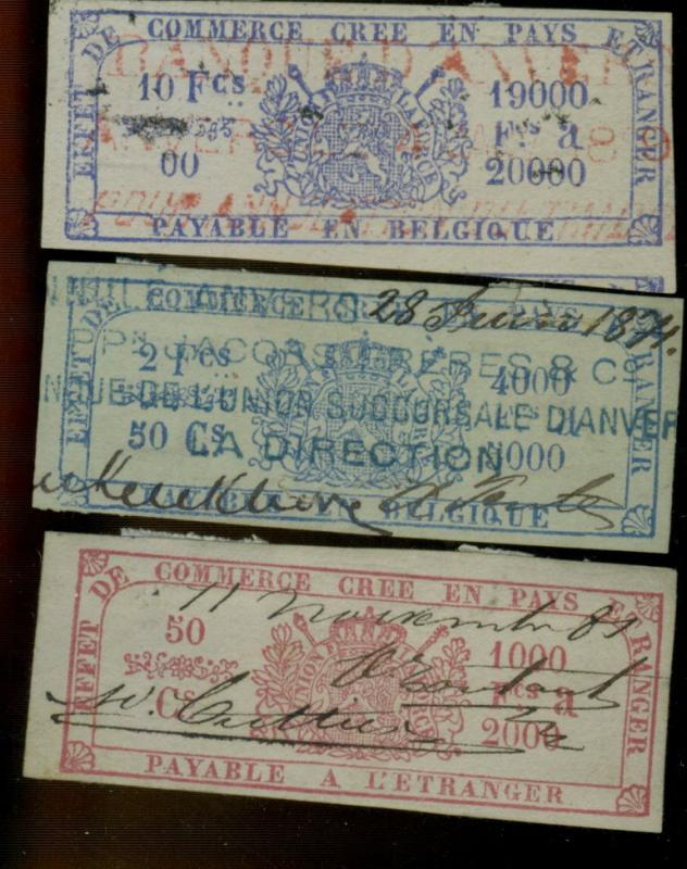 Belgium 3 Coupons 130+ Years Old F-VF Some faults
