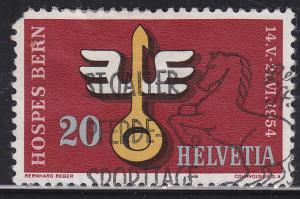 Switzerland 348 USED 1954 Winged Spoon, Bern Exhibition
