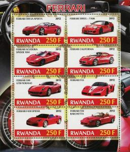 Rwanda Ferrari Luxury Car Transportation Souvenir Sheet of 4 Stamps Mint NH