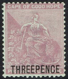 CAPE OF GOOD HOPE 1880 HOPE SEATED THREEPENCE ON 4D