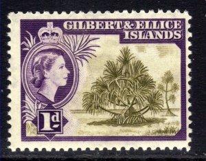 Gilbert & Ellice Islands 1956 - 62 QE2 1d Pandanus Pine Umm SG 65 ( K1048 )