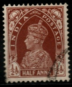 INDIA SG248 1937 ½a RED-BROWN USED