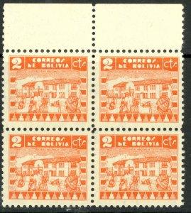 BOLIVIA 1938 2c NATIVE SCHOOL Pictorial BLOCK OF 4 Sc 242 MNH