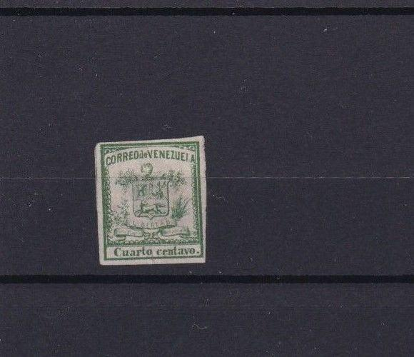VENEZUELA 1862 IMPERF STAMP ¼ CENTAVO MOUNTED MINT  CAT £28  REF 6291