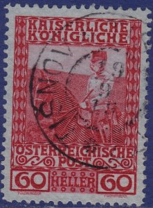 Austria - 1908 - Scott #122 - used - TISNOV pmk Czech Republic