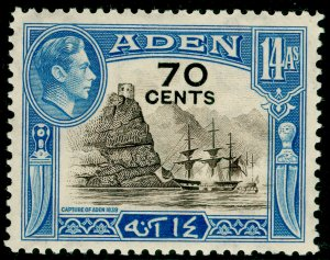 ADEN SG42, 70c on 14a sepia & light blue, LH MINT.