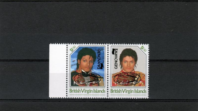 British Virgin Islands 1992 Michael Jackson ovpt.Halley's Comet/Genova