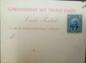L) 1889 HAITI, GENERAL LOUIS ETIENNE FELICITE SALOMON, 3C, BLUE,WITHOUT