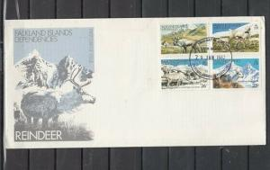 Falkland Is. Scott cat. IL 62-65. Reindeer during Seasons.. First day cover.