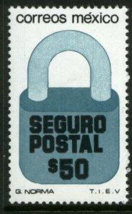 MEXICO G39, $50P Padlock Insured Letter Unwmk Fluor Paper 5. MINT, NH. VF.