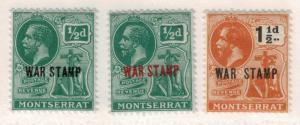 Montserrat War Tax Stamps Scott #MR1-3, Mint Hinged - Free U.S. Shipping, Fre...
