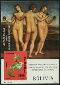 Bolivia 704a note,MNH.Mi Bl.148. Flower Stanhopaea.The Three Grace,sby Raphael.