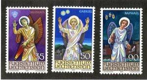 Liechtenstein MH 855-7 Angels Michael Gabriel Raphael 1986 SCV 2.35