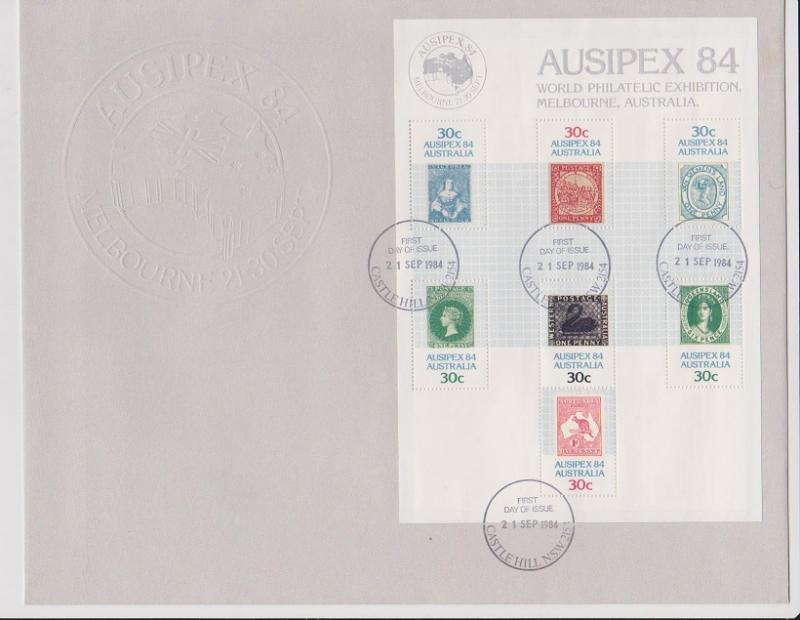 Australia 1984 Aussiepex Mini Sheet on Embossed First Day Cover