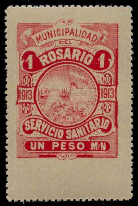 Rosario Argentina 1913 1P Hooker Tax Stamp mint remainder w/o control#