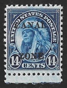 CANAL ZONE 116 14 cent American Indian Stamp Mint OG NH EGRADED XF 90 XXF