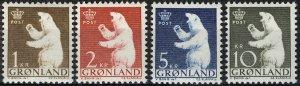 Greenland 1963, Polar Bear HV set MNH, Mi 58-61 cat 10€