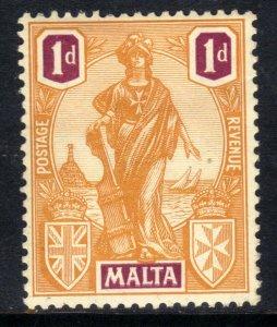 Malta 1922 - 26 KGV 1d Orange & Purple Emblematic Statue MM SG 125 ( B999 )