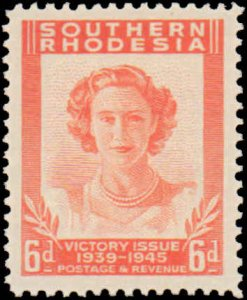 Southern Rhodesia #67-70, Complete Set(4), 1947, Royality, Military Related, ...