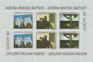Croatia # 161a, Europa- Paintings, Souvenir Sheet, NH, 1/2 Cat.
