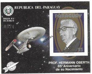 1979   PARAGUAY  -  PROFESSOR HERMANN OBERTH  -  OVERPRINTED  -  MNH