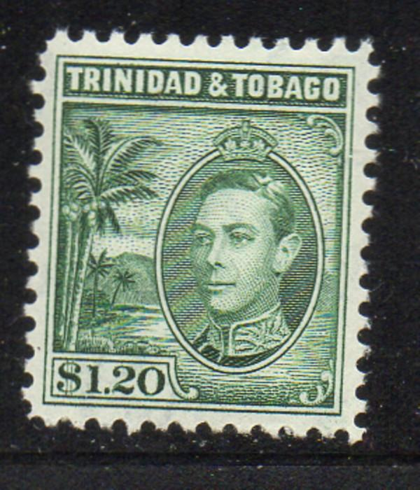 Trinidad & Tobago Sc 60 1940 $1.20 dark green George VI stamp mint