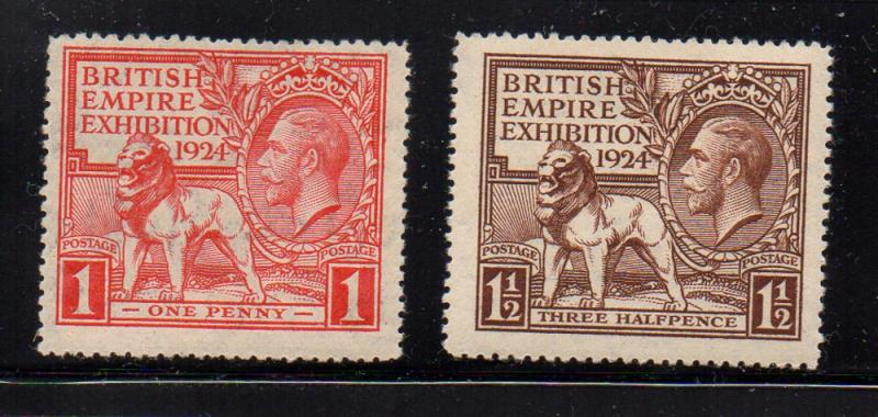 Great Britain Sc 185-6 1924 G V & Lion Empire Exhibition stamp set mint NH