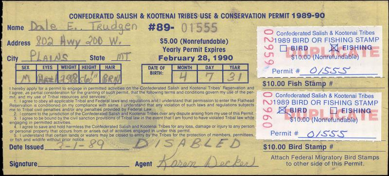 FLATHEAD INDIAN RESERVATION #FH6 ON DISABLED LICENSE USED FOR FISHING AND BIRD