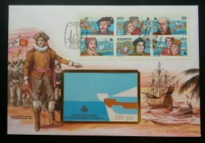 Spain Discovery Of America 1987 Boat Ship Explorer Maritime (booklet FDC) *Rare