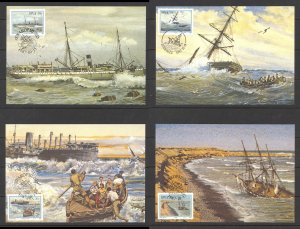 South West Africa Sc# 590-593 SG# 483/6 FDC 4 postcards 1987 Shipwrecks