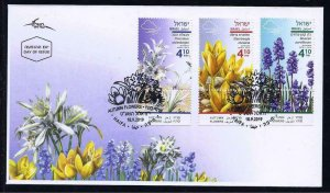 ISRAEL 2019 AUTUMN FLOWERS SET OF 3 STAMPS FDC FLORA