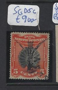 NORTH BORNEO  (P2010B)  5C BIRD POSTAGE DUE DOUBLE SURCH SG D5C  VFU  RARE