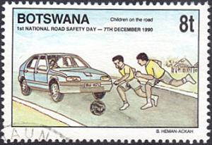 Botswana # 487 used ~ 8t Children Playing the the Road, Car